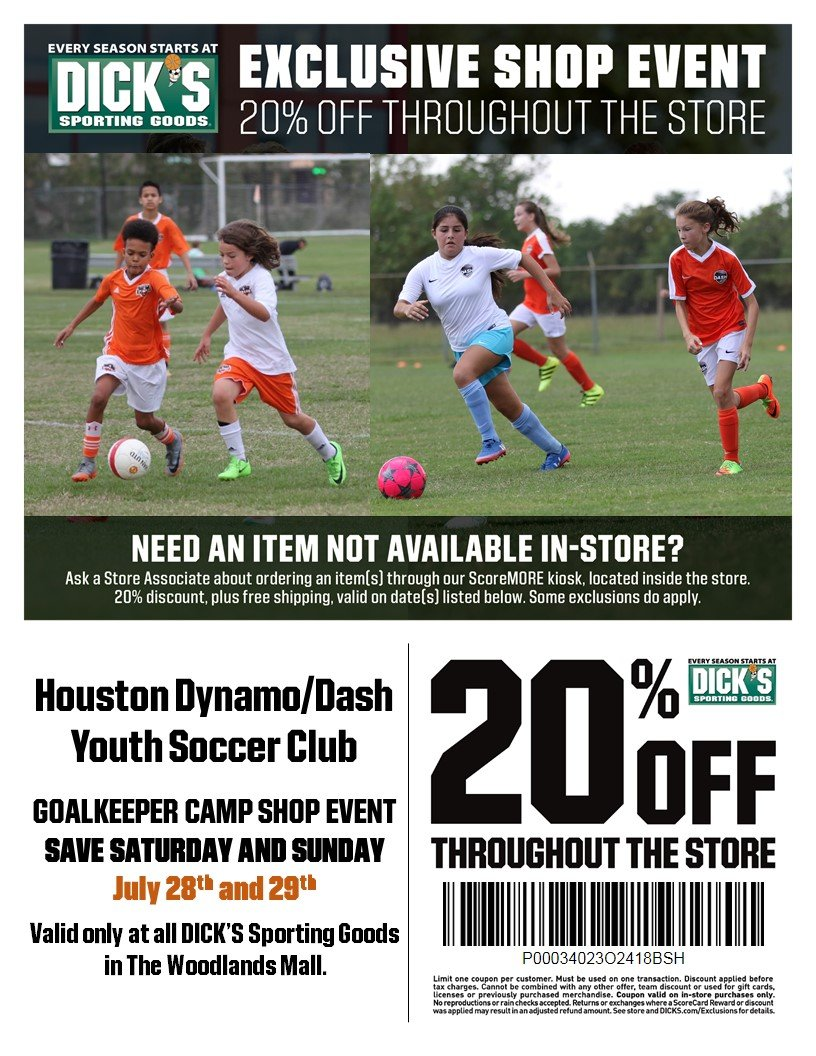 DICK's Sporting Goods Goalkeeper Camp Shop Day July 28-28, 2018